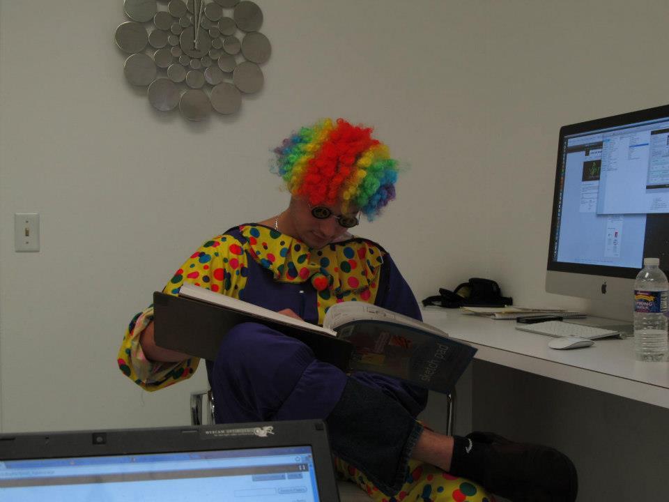 buzz dressed as a clown