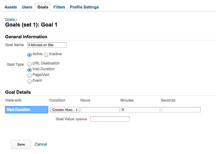 Custom Analytics Goals