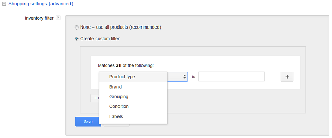 Google Shopping Advanced Settings