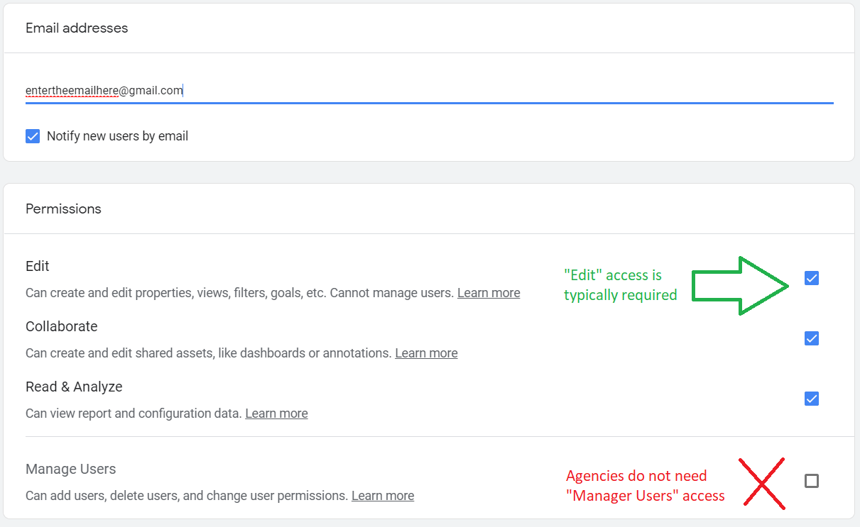 Google Analytics Edit Access